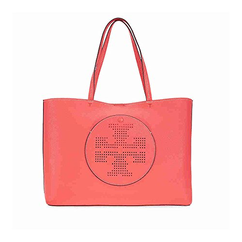 Tory Burch Perforated Pebbled Leather Double T Tote (RedGinger/Tuscan - Tory Beach Burch Bags