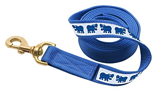 (Perri's Leather Royal Blue with Hippos Nylon Ribbon Lead with Snap)