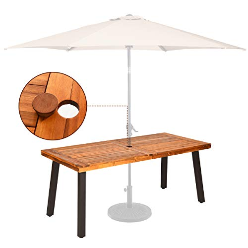 Giantex Patio Dining Table with Umbrella Hole, Outdoor Picnic Table for Backyard, Garden, Lawn, Farmhouse, Acacia Wood Rectangular Table with Metal Legs, Rustic Brown and Black