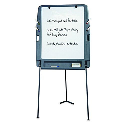 Iceberg ICE30227 Portable Flipchart Easel with Dry Erase Whiteboard Surface, Blow-molded Plastic Frame, 35'' Length x 30'' Width x 73'' Height, Charcoal by Iceberg