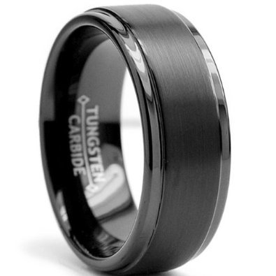 - Rosenthal Collection 8mm Black High Polish Tungsten Carbide Men's Wedding Band Ring in Comfort Fit and Matte Finish Sizes 6 to 15 (15.5)