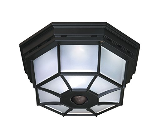 Heath Zenith HZ-4300-BK-B 360-Degree Motion-Activated Octagonal Ceiling Light, Black - Light Outdoor Ceiling Fixture