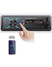 Hikity Audio System Single Din Car Stereo Indash Bluetooth Car Radio, Hands-Free Calling, FM Tuner, Car MP3 Player with USB Port, AUX Input, APP Control + Remote Control