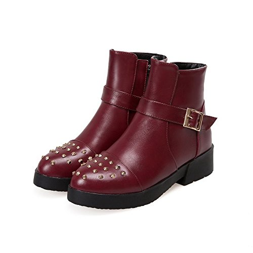 Low AllhqFashion PU Heels Womens Low Zipper Claret Boots Top Solid OOYrqw6