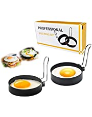 Non-Stick Egg Rings, XPANON Stainless Steel Egg Maker for Fried and Poached Eggs Crumpets, Mini Pancakes and Yorkshire Puddings Suitable for Egg Poacher Pan, Cookware, Boiler Steamer