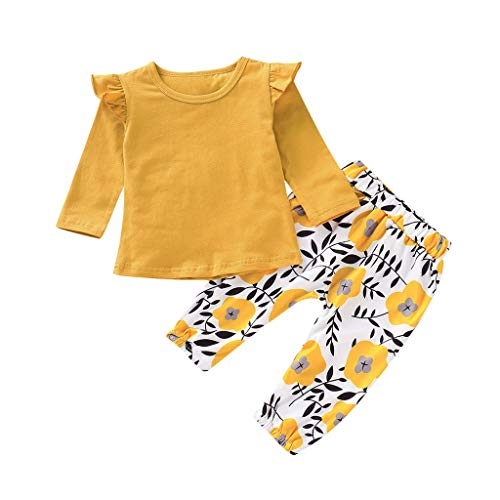 Infant Baby Girls Ruffles Long Sleeve Solid Tops+ Floral Casual Pants Toddler Clothes Sets Outfits (0-3 Months, Yellow)