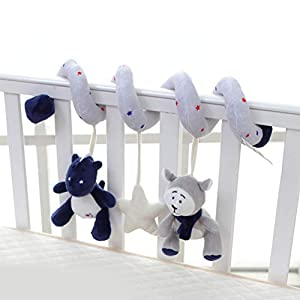 Kohyum stroller chain – elephant bear rattle toy for car seat cot For babies and toddlers from 0 months