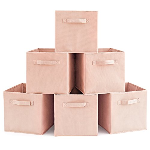 Set of 6 Basket Bins- EZOWare Collapsible Storage Organizer Boxes Cube for Nursery Home - Pale ()