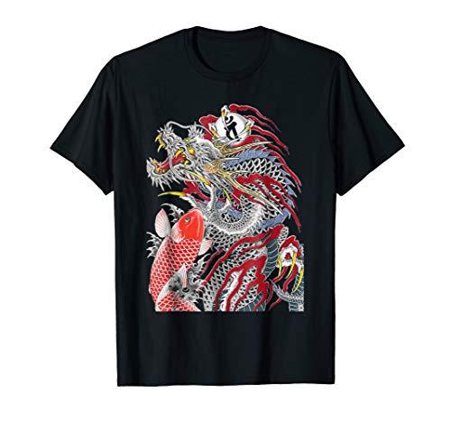 Red Dragon and Koi T Shirt Yakuza Logo For Men Women