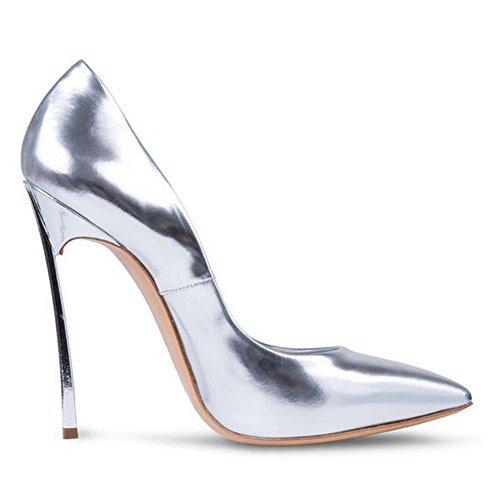 ... Damen Große Größe Pumps Spitze Zehen High-Heels Stiletto Rutsch  Hochzeit Party Glas-Silber ... f9e82916c6