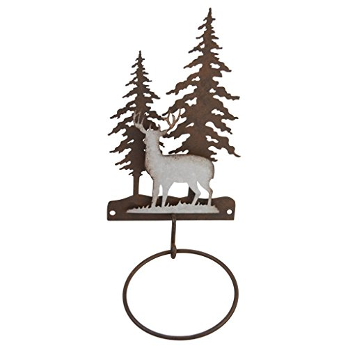 pine ridge 3-D Deer Scene Metal Single Hand Towel Holder - Western Decorative Wall Mount Holder for Kitchen, Washroom, Toilet and Bathroom ()