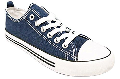 Shop Mooie Meisjes Damessneakers Casual Canvas Schoenen Effen Kleuren Lage Top Lace Up Platte Mode Marine Blauw