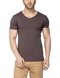 Men's Solid V-Neck Half Sleeve T-Shirt