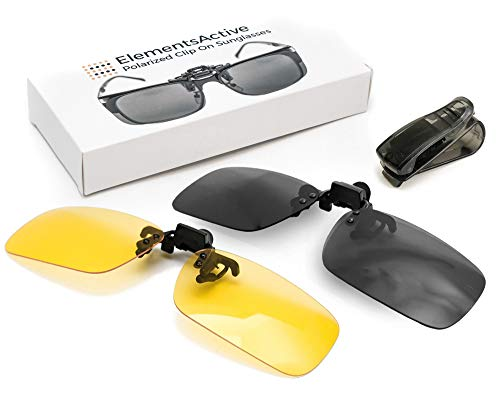 ElementsActive Polarized Clip On Flip Up Sunglasses Set Premium UV400 Anti Glare Driving Fishing Sunglass Fits Over Prescription Rx Glasses â— Reduce Reflections â— Bonus Car Visor Holder
