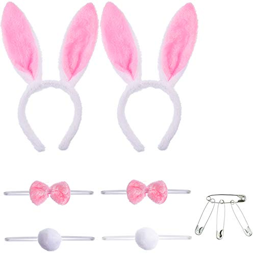 Tatuo 2 Sets Bunny Ears Headbands Tails and Bow Tie with 4 Pieces Safety Pins (Pink Mix White -