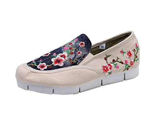 Lazutom Women Lady Vintage Embroidery Shoes Casual Flats Sole Loafer Shoes Beige