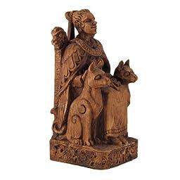 Seated Norse Goddess Freya Statue Wood Finish