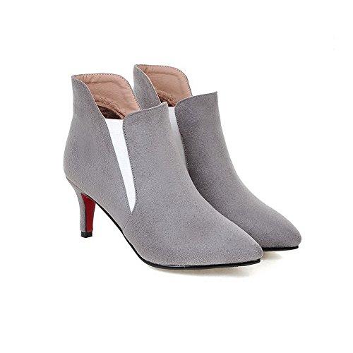 AllhqFashion Damen Ziehen auf Hoher Absatz PU Leder Niedrig-Spitze Stiefel, Khaki, 34