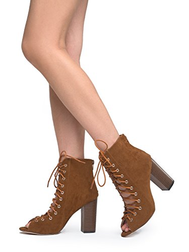 714e71192853f J. Adams Lace Up Peep Toe Chunky Heel - Trendy Wood Block Heel Bootie -