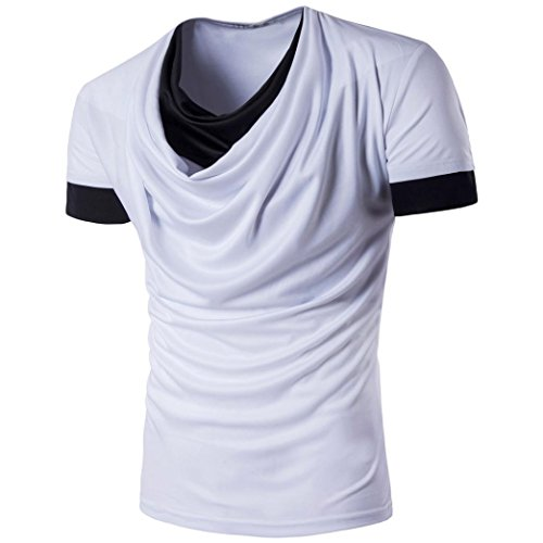 Hunzed Men Summer Fashion Patchwork Tank Top O-Neck Men's Short-sleeved T-shirt (White, M)