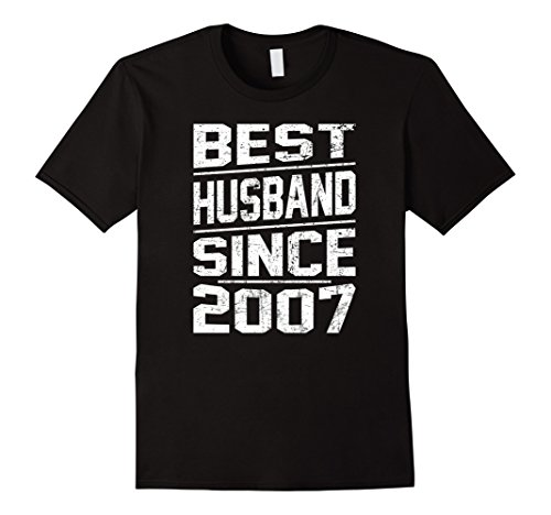 Mens T-shirt for Best Husband Since 2007,Anniversary Gift 10 Year 2XL Black