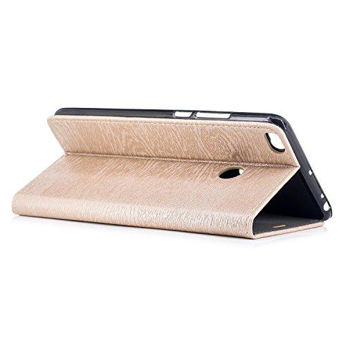 Funda Xiaomi Mi Max 2, CaseLover Piel PU Flip Folio Carcasa para Xiaomi Mi Max 2 con TPU Silicona Case Cover Interna Estilo Libro Cuero Tapa Cierre Magnético, Función de Soporte, Billetera y Tarjeta R Oro