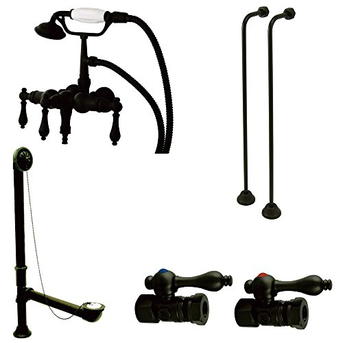 Downspout Shower Package - Kingston Brass CCK19T5A Vintage Down Spout Wall Mount Claw Foot Faucet Package, Oil Rubbed Bronze