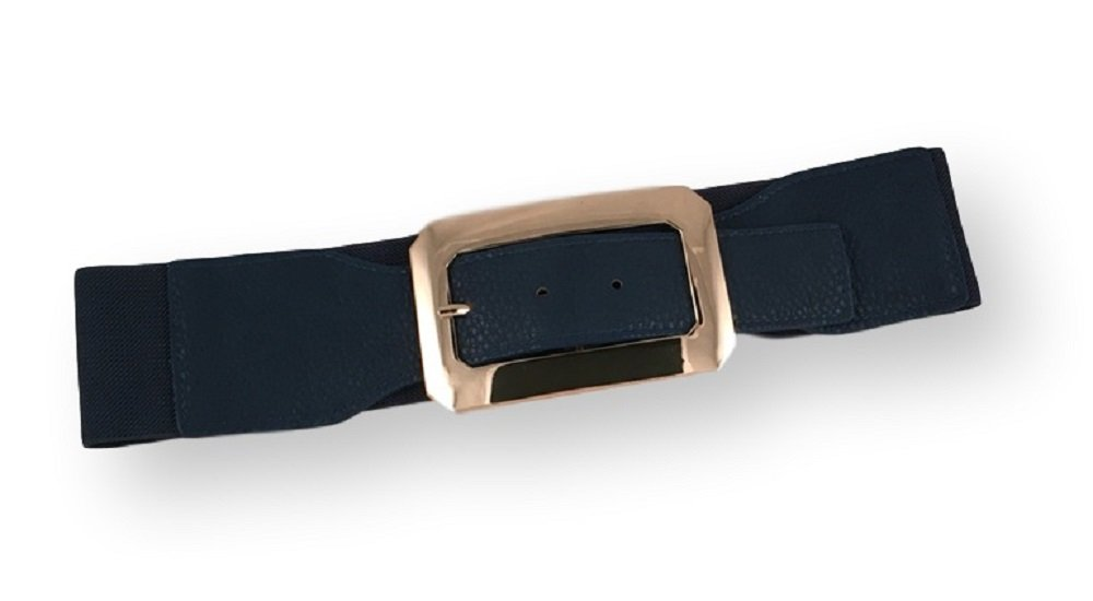 JuJu's Women's Belt Wide One-Size With Gold Tone Buckle (Navy)