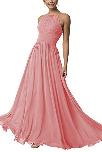 Clothfun Halter Bridesmaid Dresses Long Chiffon Prom Dresses Formal Dresses for Women Wedding Party,Coral,12