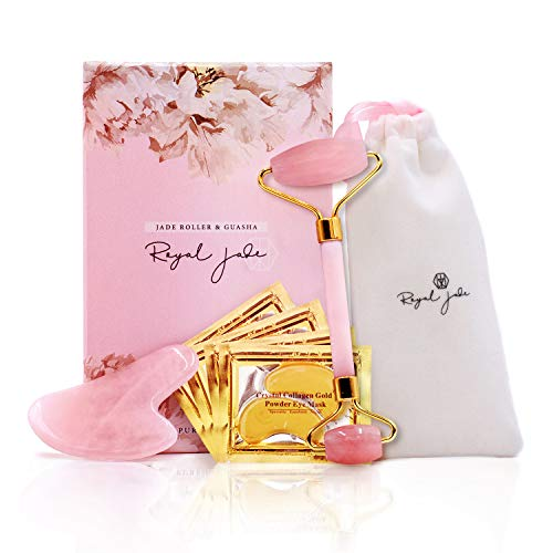 Rose Quartz Roller and Gua Sha Scrap Tool | Plus 10 Pairs 24K Gold Eye Treatment Masks | Anti-Aging Beauty Kits for Slimming, Toning and Firming Skin | Reduce Puffy Eyes and Firm Wrinkles | Royal Jade ()