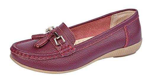 Shoe Casual Mocassini Ladies Work Womens Estivi Nassel On Leather Plum Slip Bar Comfort FqHwzP