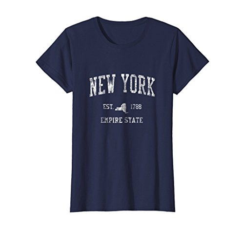 New York Vintage T-shirt - Womens Retro New York NY T Shirt Vintage Sports Tee Design Large Navy