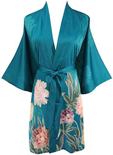 Ledamon Women's Silk Satin Kimono Short Robe - Classic Floral Nightgown Bathrobe Sleepwear (Dark Green)