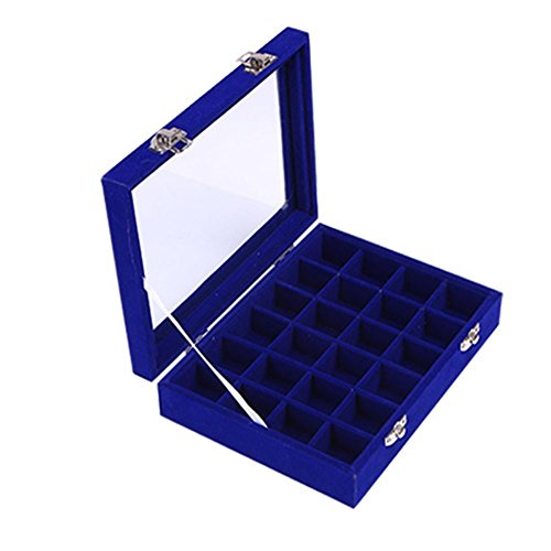 Novadeal 24 Grids PU Velour Leather Multipurpose Jewellery Storage Box Ring/Earrings/Necklace Tray Display Case Organizer - Dark Blue