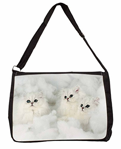 White Chinchilla Kittens Large 16 Black School Laptop Shoulder Bag