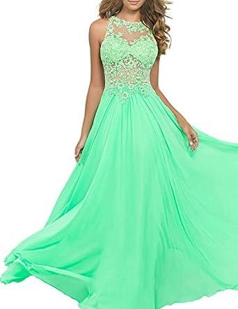 TDress A Line Chiffon Floor Length Prom Dresses With Applique