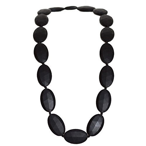 Funky Silicone Teething Necklace for Mom to Wear - Color Black - Our teething beads are made from 100% food grade silicone and are free of heavy metals, PVC and BPA free. by Bambeado   B01IUPKKXS
