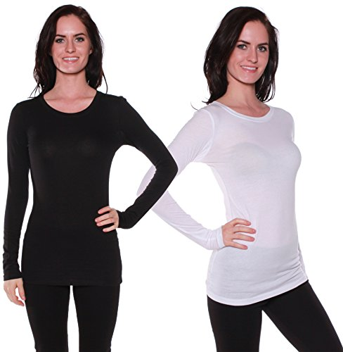 Active Basic Athletic Fitted Plain Long Sleeves Round Crew Neck T Shirt Top 2-pack(Black/White)Small