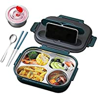 304 Stainless Steel Lunch Box 4 Compartments Portable Bento Box for Kids Student or Adult Food Storage Containers with…