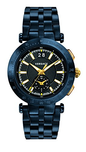 Versace Men's 'V-Race' Swiss Quartz Stainless Steel Casual Watch, Color:Blue (Model: VAH050016)
