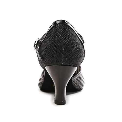 Noir 6cm Minitoo Black femme Danse de Salon Heel 44qIYF