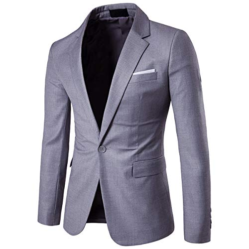 Cloudstyle Mens Suit Jacket One Button Slim Fit Sport Coat Business Daily Blazer Light Grey ()
