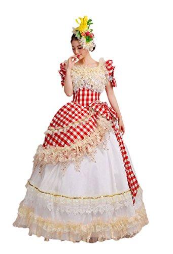 [Zukzi Women's Short Sleeve Checkered Lolita French Maid Cosplay Show Dress US Customized] (Custom French Maid Costumes)