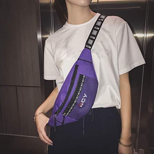 Sports Femme Sac Blanc Meidi couleur Unisexe Extérieur Homme Imprimer Zipper Lettre Messenger Neutre Violet Mode Accueil Sac Casual Poitrine Toile wwBUvxa