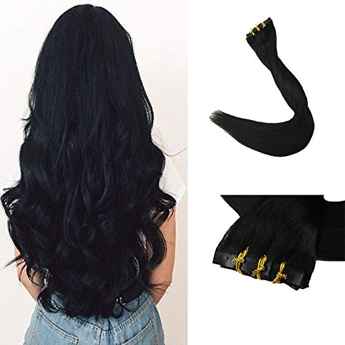 Full Shine 8 Pieces Color #1 Jet Black Real Remy Clip in Hair Extensions 18 inch 120g Seamless Clip in Hair Extensions Solid Color Human Hair Clip in Extensions