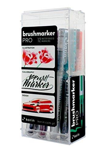 Karin Brush Marker Pro 12File Set Pro Basic Colours Set of 12Transparent Body with Ink Free System, 2Brush Marker 4ml Liquid Colour: No Felt-Tip Pen Marker by KARIN (Image #2)