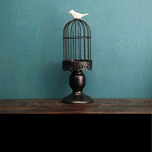 LOSAYM Desktop Decor Sculptures Statues Birdcage Iron Candlestick Candle Holder Candlelight Dinner Table Bird Ornaments Home Decoration-Black_As_Shown