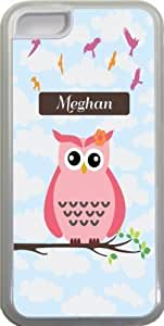 "Eric-Diy ""Meghan"" Name - Cute Pink Owl on Branch with Personalized Name Design iPhone 5c case cover for Apple aPFTndLNnVC iPhone 5c sell on Zeng case cover"