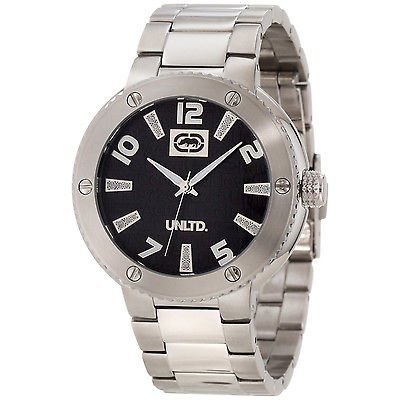 Marc Ecko Men's E12582g2 Silvertone Stainless Steel Black Dial Quartz Watch Steko LTD