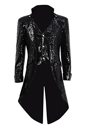 Very Last Shop Mens Gothic Tailcoat Jacket Black Steampunk Victorian Long Coat Halloween Costume (US Men-L, Black(Sequin))